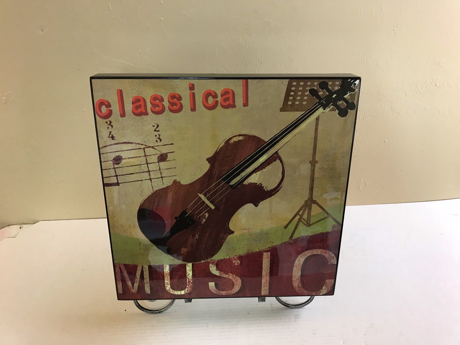 "CLASSICAL MUSIC LARGE WALL HANGING 15X15X1.5"" VIOLIN PRE-OWNED             #2701"