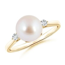 Solitaire Cultured Akoya Pearl Diamond Engagement Ring Gold/Silver Size ... - $396.02+
