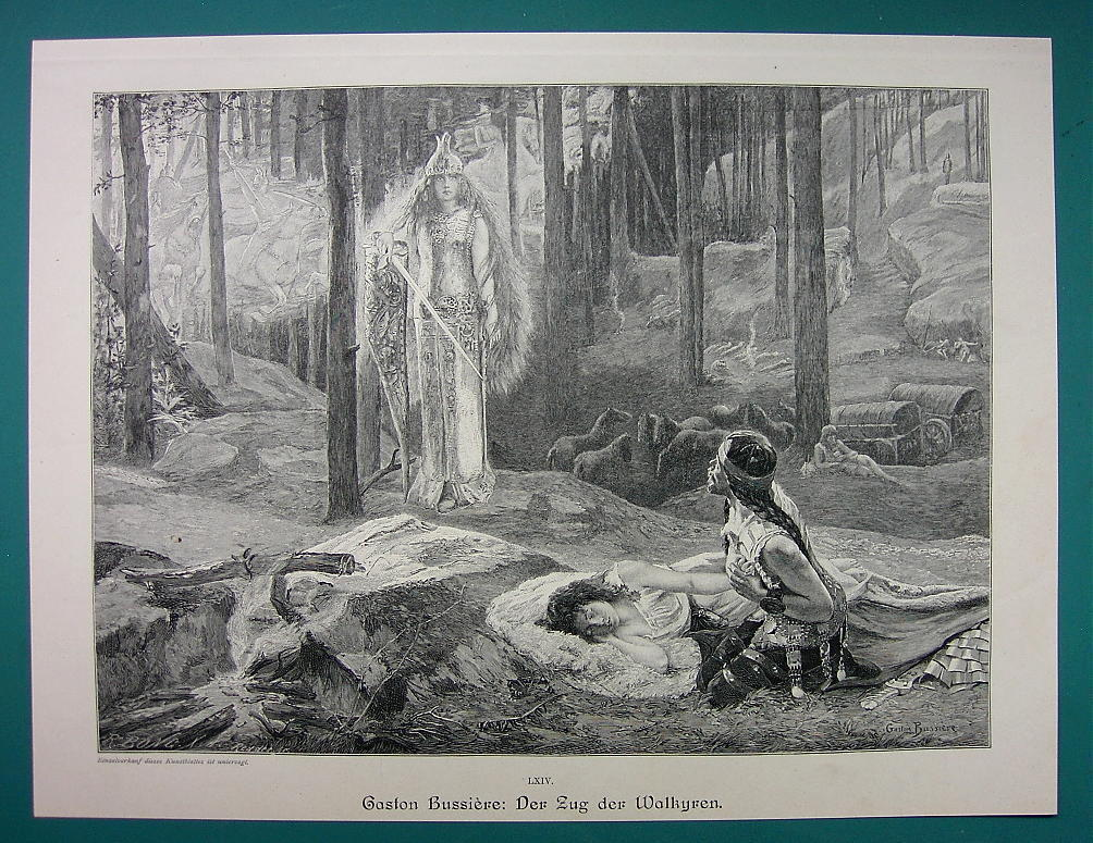 VALKYRIES Nordic Maidens March Carry Warriors Souls - VICTORIAN Era Print