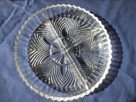 Indiana Glass Ridge Fan #259 Divided Dish 3 Compartment Clear  - $9.99