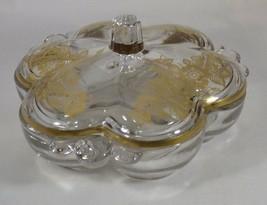 "Duncan Miller Canterbury 3 Division Dish & Lid Gold Rose Decorated 7.25""... - $8.42"