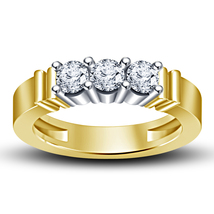 Round Cut CZ Yellow Gold Plated 925 Sterling Silver Three Stone Engagement Ring - £31.34 GBP