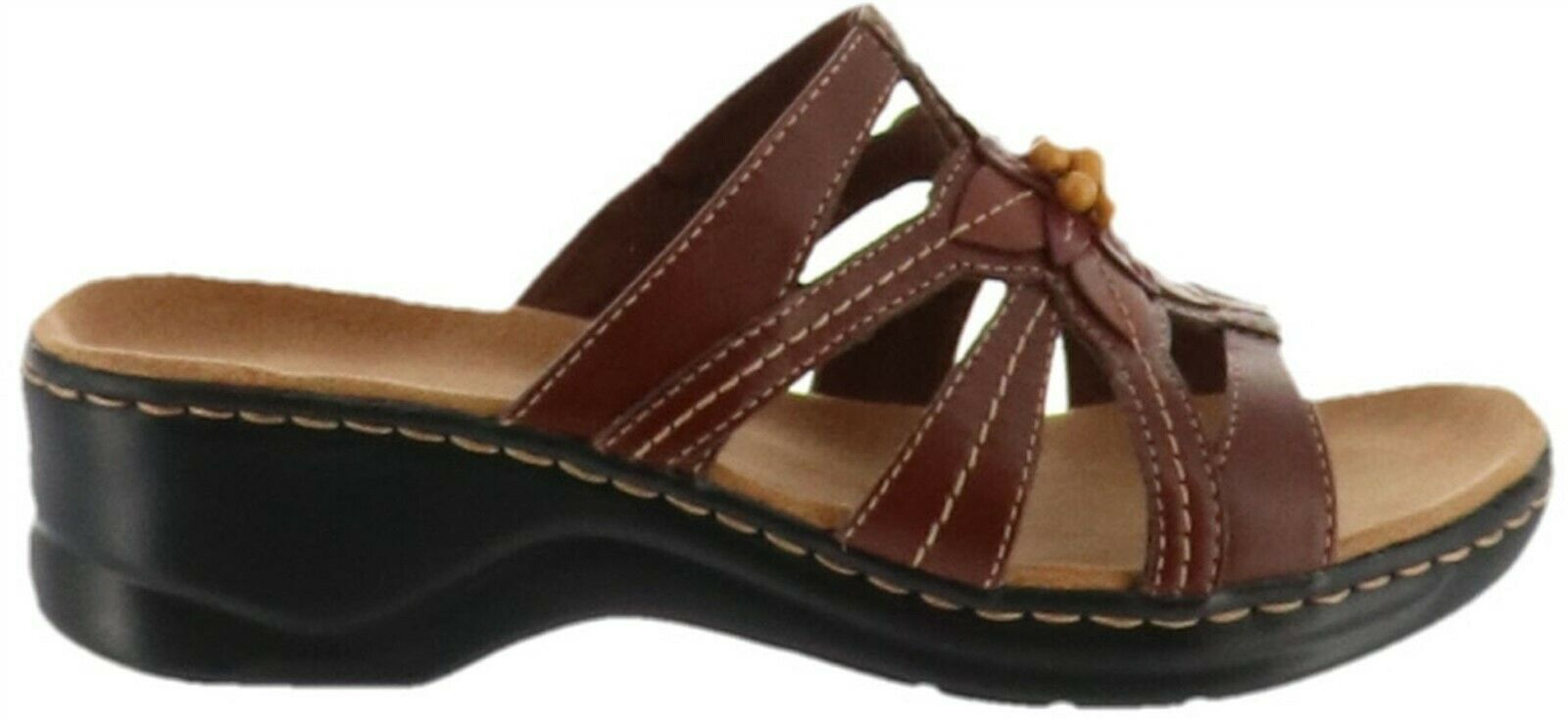 Clarks Bendables Lexi Myrtle Leather Slides Bead Brown 8.5N NEW A231110 - $74.23