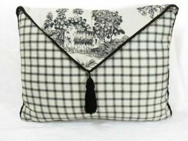 Waverly Wellington Toile Plaid Black Cream 12 x 16 Tasseled Envelope Toss Pillow - $29.00