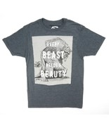 NEW DISNEY CHARCOAL HEATHER BEAUTY AND THE BEAST GRAPHIC TEE T-SHIRT SIZE S - $4.85
