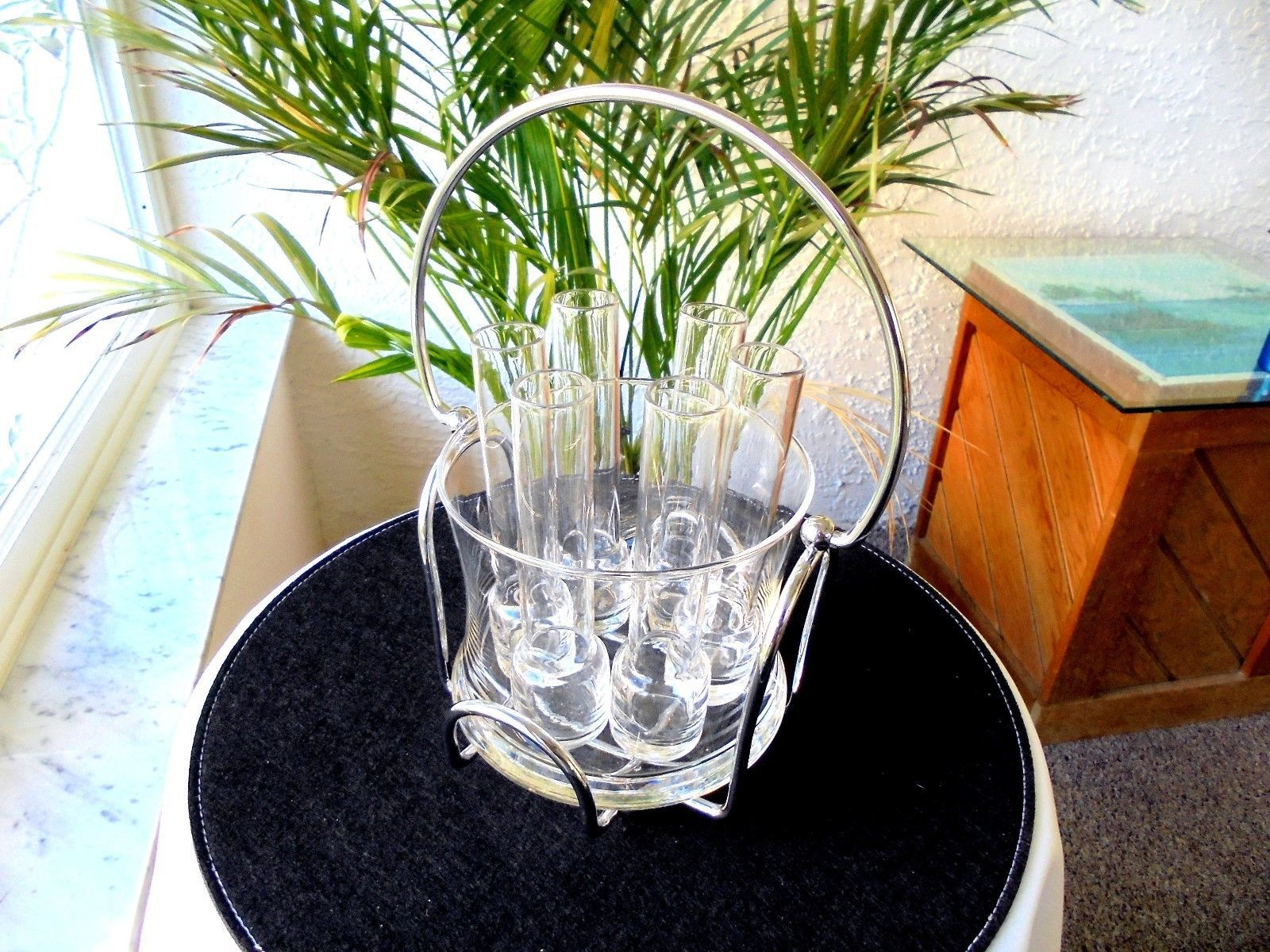 Complete Vodka Set 6 Glasses With Ice Bucket in Stainless Steel Cradle - $23.76