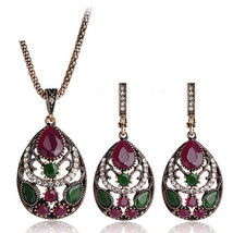 Luxury Vintage Jewellery Sets for Women Earring Necklace Set With Stones... - $13.87