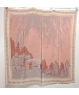 "Ravinia Festival Art Deco Mauve Gray Silk Scarf 34"" Made in Japan - $67.13"