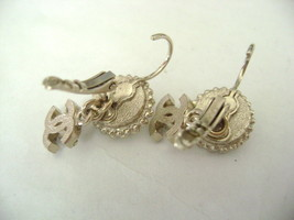 Authentic Chanel CC Logo Pearl W/ Crystal Simple Dangle Hook Earrings image 3