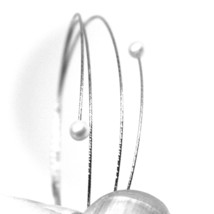 18K WHITE GOLD MAGICWIRE BANGLE BRACELET, ELASTIC WORKED MULTI WIRES, PEARLS image 2