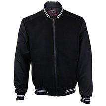 Maximos USA Men's Lightweight Mesh Zip Up Bomber Jacket (Small, Black / White)