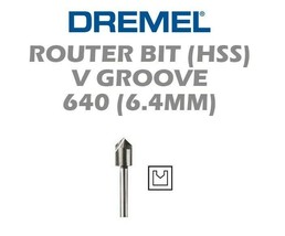New Authentic Dremel 640 V-GROOVE Router Bit High Grade Steel, High Speed Cutter - $8.55