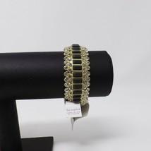 Lia Sophia Modelina Gold Gray & Clear Bling Stretch Bracelet - New - $12.99