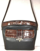Brighton Vtg Black Leather Brown Reptile Print Trim Shoulder Bag Front W... - $76.62