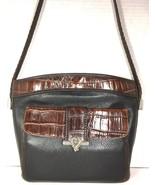 Brighton Vtg Black Leather Brown Reptile Print Trim Shoulder Bag Front W... - $76.62