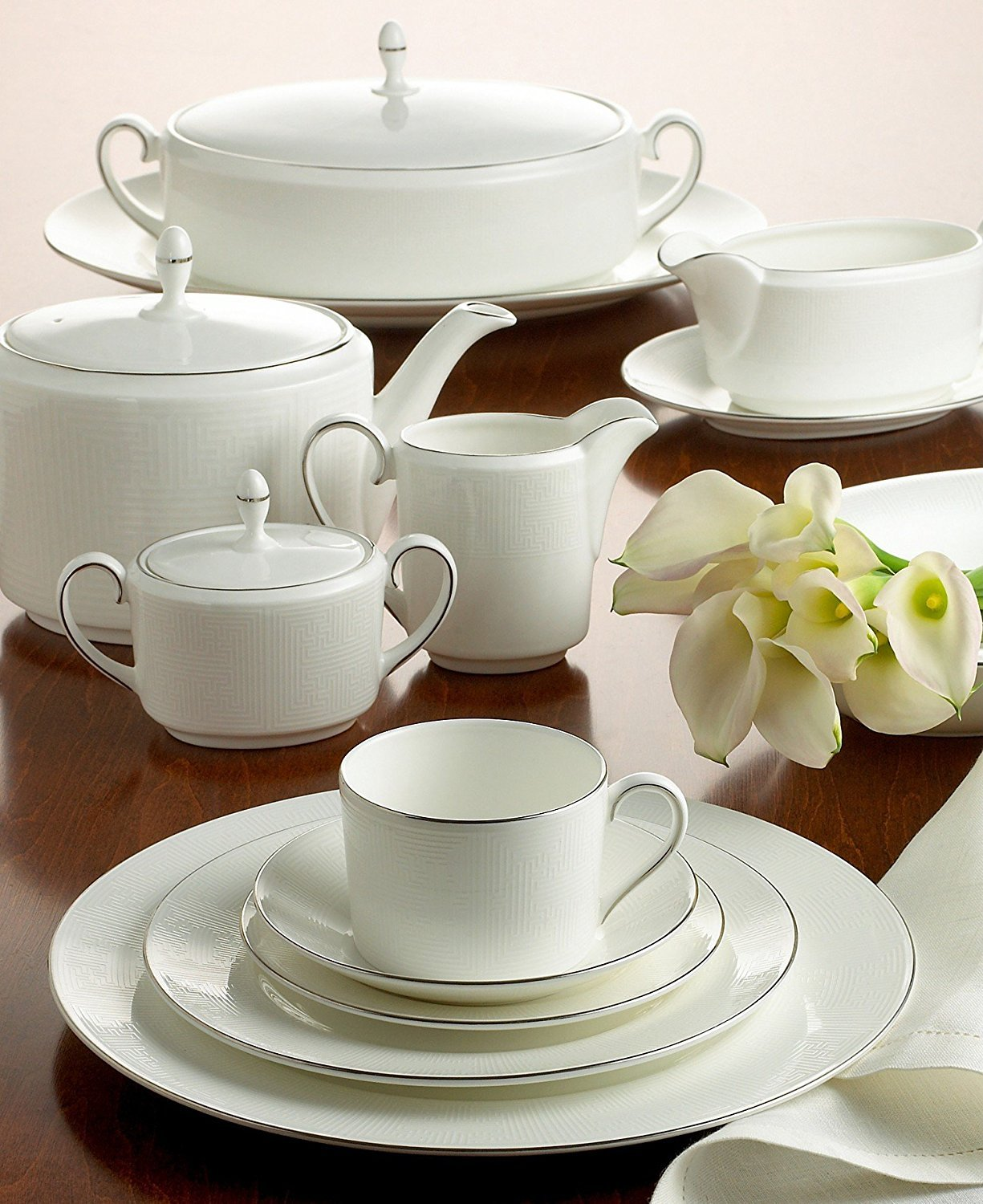 "Primary image for VERA WANG WEDGEWOOD ""IVORY TRELLIS"" DINNER SET/3 MADE IN ENGLAND BONE CHINA NEW"