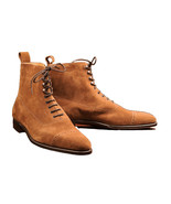 Men Tan Suede Cap Toe High Ankle Handmade Vintage Leather Lace Up Boots - $159.99+