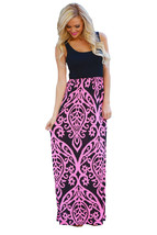 Rosy Damask Print Sleeveless Long Boho Dress - $12.80