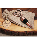 1 Copper Two Hearts Vintage Wine Bottler Stopper Wedding Favor Gift Cust... - $6.98+