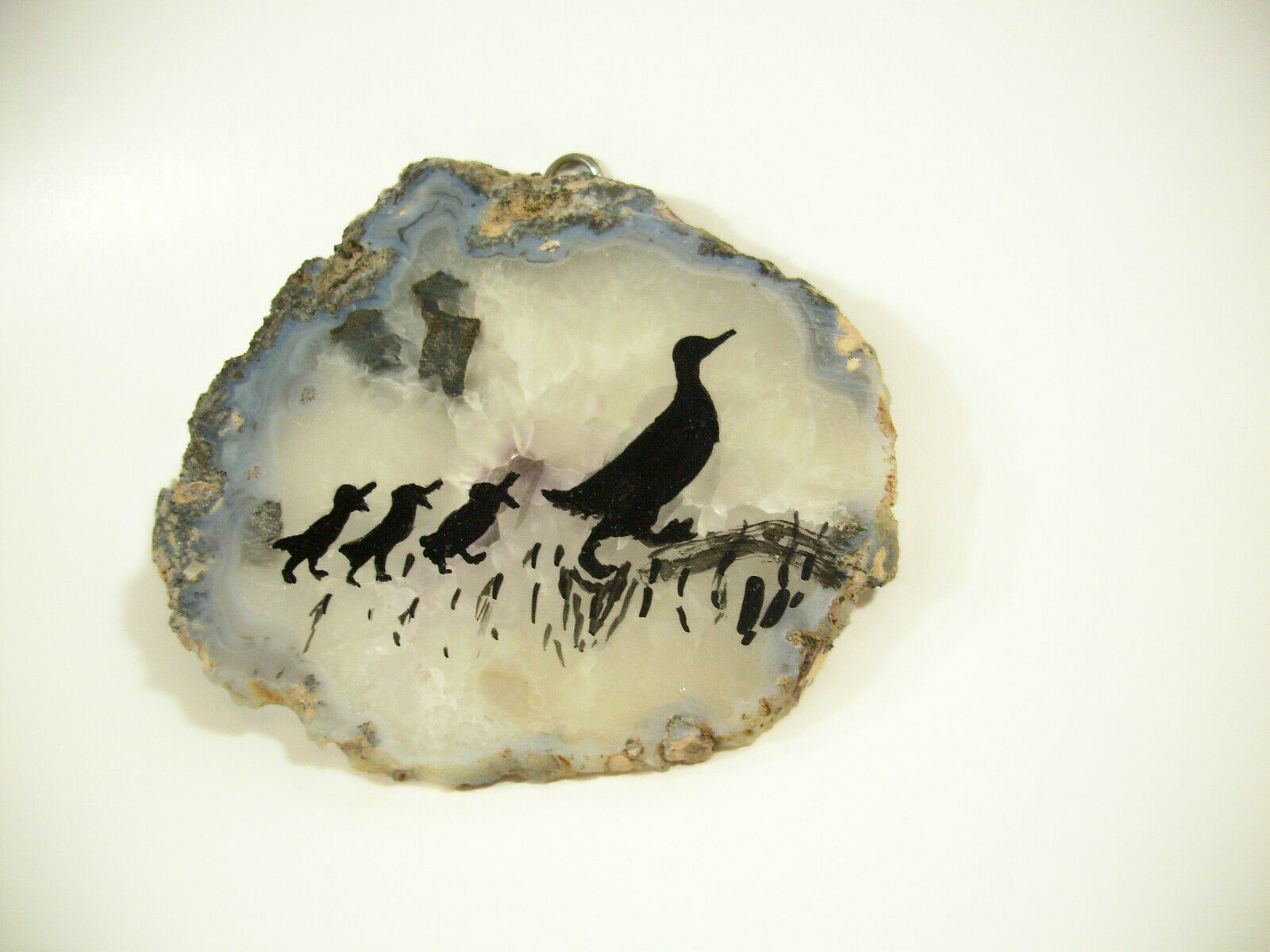 Silhouette Ducks Hand Painted on Geode Stone Slice Folk Art Wall Hanging Plaque image 3