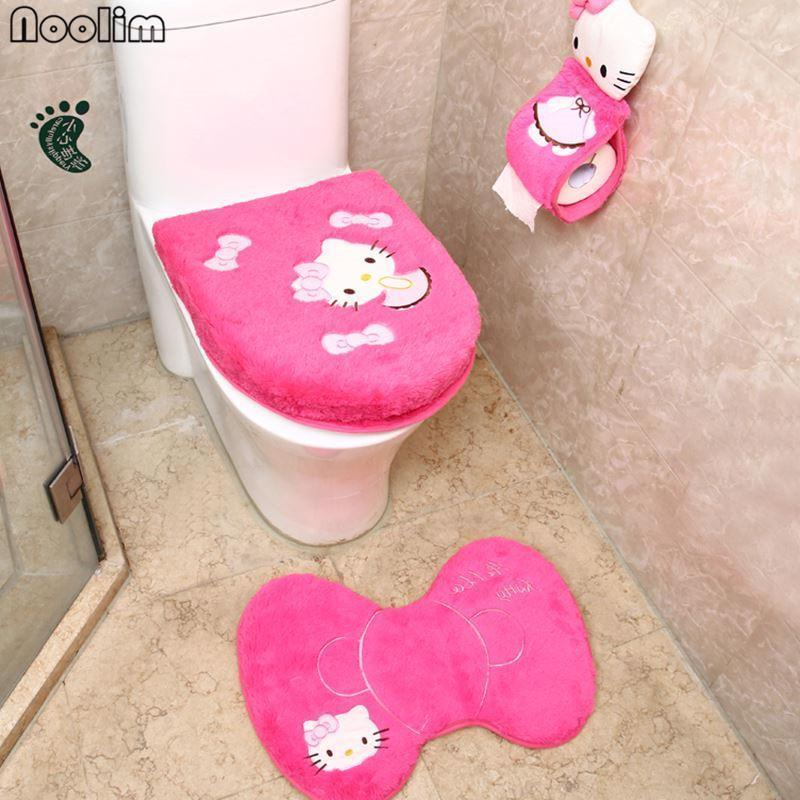 Kitty Cat Home Bathroom Toilet Set Pink Seat Cover Rug Mat