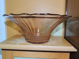"""Pink Depression Glass Fruit Bowl 11.5"""" Mayfair Open Rose flared scallope... - $34.99"""