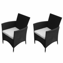 vidaXL 2x Garden Chairs Poly Rattan Wicker Black Patio Outdoor Furniture... - $109.99
