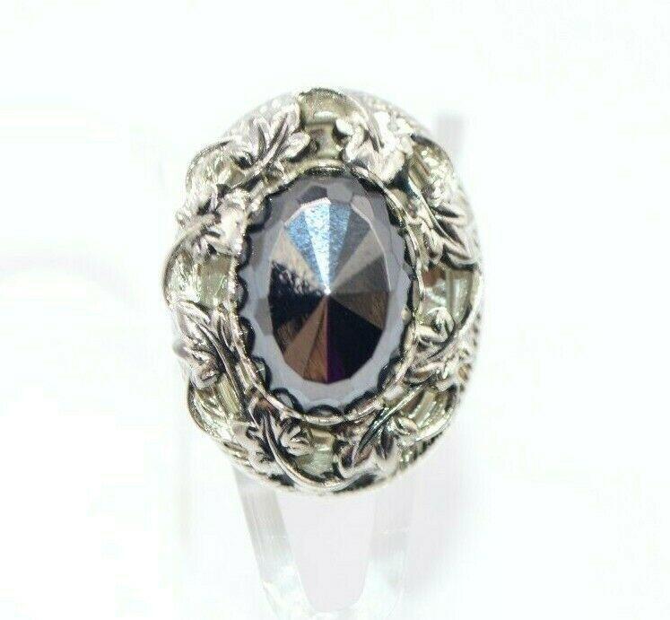 Pcraft Black Faceted Hematite Leaf Filigree Statement Ring Silver Tone Size 5.5 - $19.79