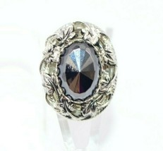 Pcraft Black Faceted Hematite Leaf Filigree Statement Ring Silver Tone S... - $19.79