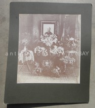 antique Post Mortem Memorial Funeral Photograph clinton mo flowers man - $47.50