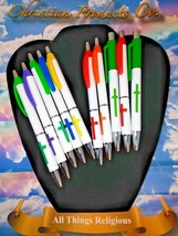 Religious Cross Various color Black Ink Office Pens - $10.88