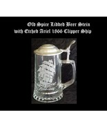 Glass Lidded Beer Stein Ariel 1866 Clipper Ship Design Italian CUI Old S... - $28.99