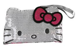 Sanrio Hello Kitty Comic Pop Silver Sequins Face Wristlet Purse Bag NWT