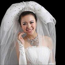 Luxurious Shining Beads Bridal Wedding Veil, Pure White/3M Long