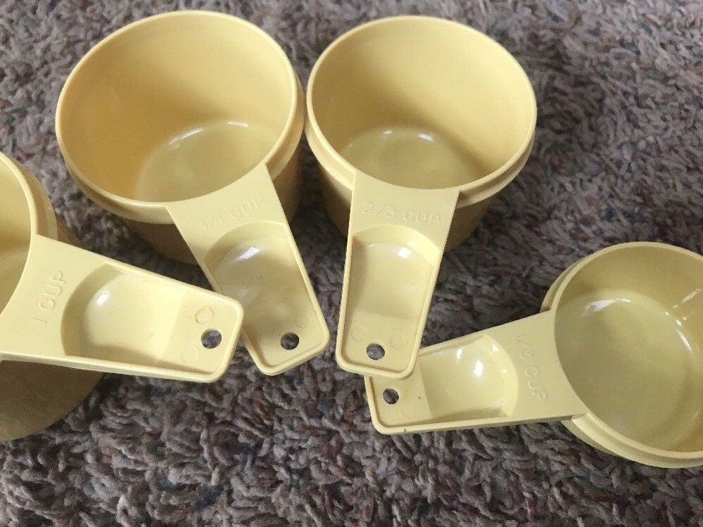 Vintage Tupperware Harvest Yellow Measuring Cups Set/4 Nesting Retro Kitchen