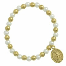 Women's Gold PVD and White Pearl with Mary Charm Bracelet - $24.95
