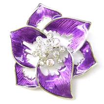 Purple Lavender Violet Flower Abstract Silver Crystal Lovely Elegant Bro... - $9.99