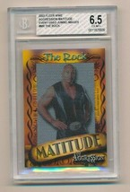 2003 Fleer WWE Aggression Matitude Mat Relic Image The Rock /50 BGS 6.5 - $65.00