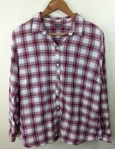 Eddie Bauer Plaid Button Front Long Sleeve Shirt Womens Large - $14.01