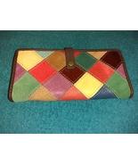 Wilson's Leather clutch wallet multi-color patchwork wallet mint - $17.00