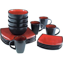 Black and Red Dinnerware Set Square Plates Dessert plate, Bowls and Glaz... - $115.38