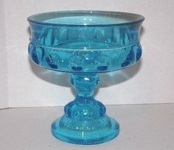 KING'S CROWN THUMBPRINT COMPOTE CANDY DISH- BLUE GLASS/PEDESTAL - $11.39