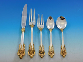 Grande Baroque Gold Accent by Wallace Sterling Silver Flatware for 12 Se... - $3,196.00