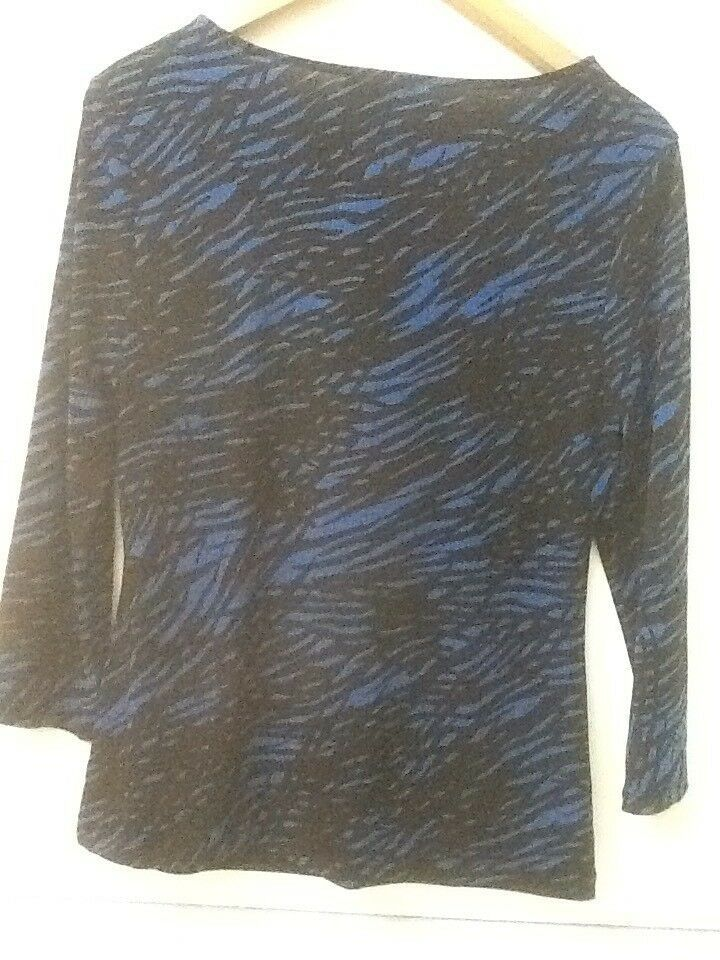 Calvin Klein Top Drape Neck 3/4 Sleeve Blue Black Print S Small image 6