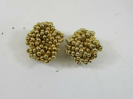 Vintage Twisted Beaded Gold Tone Clip On Earrings Beads 2616 - $15.83