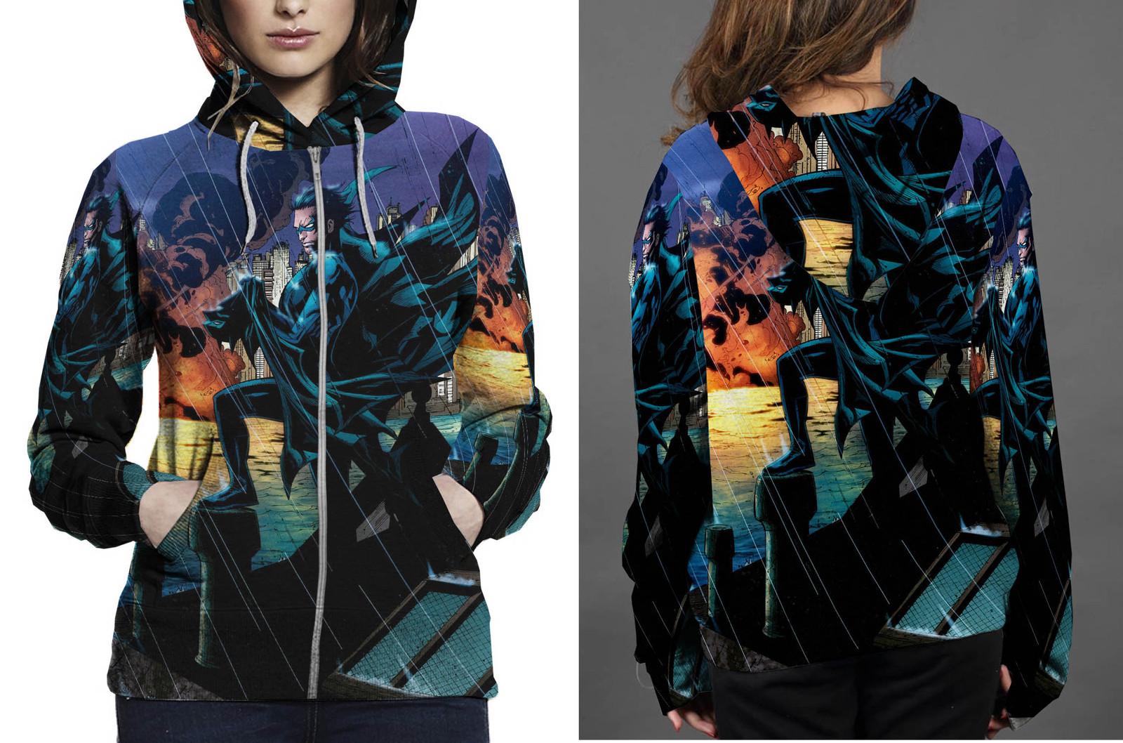Nightwing night rain zipper hoodie women s