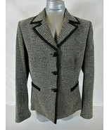JONES STUDIO womens Sz 12 L/S black white FULLY LINED button down jacket... - $62.88