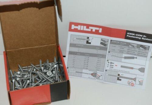 HILTI KWIK CON II 433036 PLUS PHILLIPS FLAT HEAD SCREWS 3/16 x 1 1/4 Box of 100