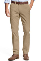 Tommy Hilfiger Men's Beige Chino Flat Front Custom Fit Slim Staight Leg Pants - $40.39