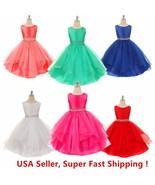 Wedding Flower Girls Crystals Waist Taffeta Pageant Dress - $19.98
